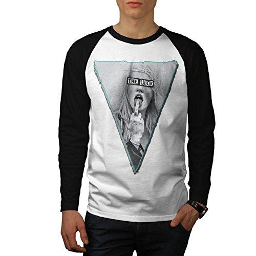 Unhöflich Finger Kostüm (Mädchen Lecken Finger Sexy Musik Abdeckung Herren XL Baseball lange Ärmel T-Shirt |)