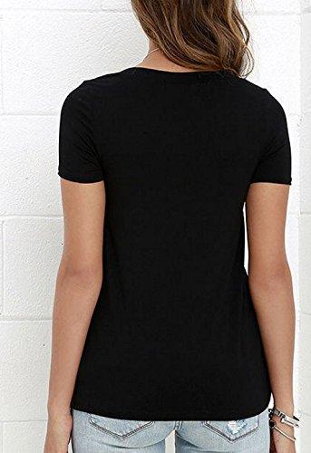 SHUNLIU Damen-T-Shirt/Oberteil mit lässiger Schnürung am V-Ausschnitt Schwarz