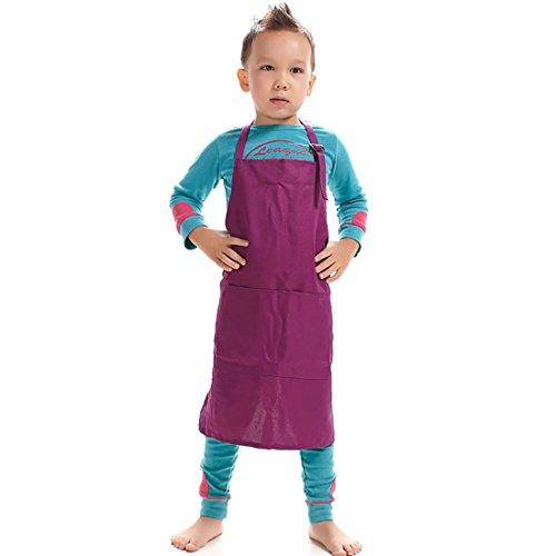 LissomPlume Delantales Ajustables Cocina para niños,delantal de pintura fácil de limpiar,Púrpura