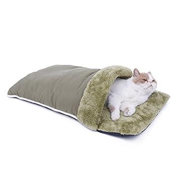 PAWZ Road Sac de couchage pour chat panier lit chiot lit du peluche auto-réréchauffant pour animal de compagnie deux couleurs Vert et Gris ( Couleur : Vert )