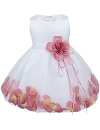 iiniim Vestido de Bebé para Bautizo para Bebé 0 a 24 Meses Vestidos de Fiesta de Noche con Flores Pétalos Vestido de Ceremonia para Bebés Cumpleaños