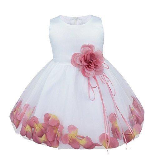 YiZYiF Baby Mädchen Kleid mit Blütenblätter Festlich Kleid Gr. 62-92 Hochzeit Kleinkind Verkleidung Weiß + Puce 68-74