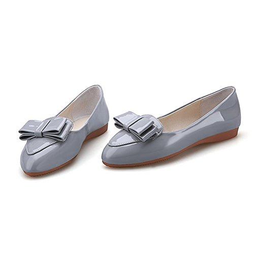 VogueZone009 Damen Rein Lackleder Niedriger Absatz Ziehen Auf Spitz Zehe Pumps Schuhe Grau
