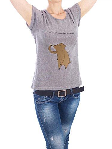 "Design T-Shirt Frauen Earth Positive ""i like bears"" - stylisches Shirt Kindermotive Comic von Lingvistov Grau"