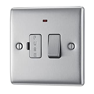 BG Electrical NBS52 13amp Metal Brushed Steel Switched Fused Connection Unit Power Indicator
