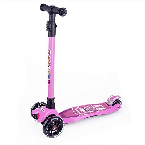 BAYTTER Kinderscooter Dreirad Kinderroller Roller Scooter LED Blinken für Kinder ab 3 Jahren, in 4 Höhen verstellbar und bis 100kg belastbar, mit PU Rädern(Muster 1/Rosa)