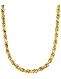 DZINETRENDZ Gold Plated Classic 26 Inch Rope Design Chain Necklace Men Women