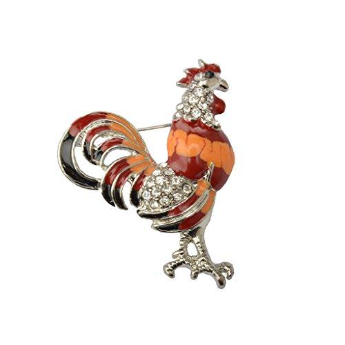 Retro Kristall Rhine Hahn Tier Brosche Stifte Weihnachten - Orange