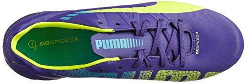 Puma evoSPEED 4.3 FG Jr Unisex-Kinder Fußballschuhe Violett (prism violet-fluro yellow-scuba blue 01)