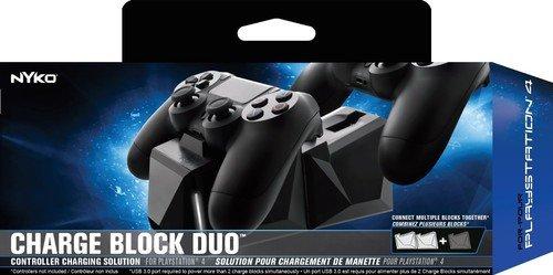 Erweiterbare Doppel-Ladestation für Playstation 4-Controller, schwarz, mit Netzteil und Deutschem Stecker (Charge Block Duo 83231) (Nykos Station Power)
