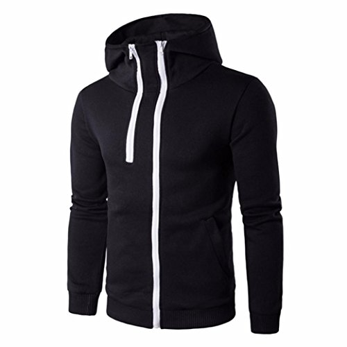 Malloom® Men Zipper Coat Jacket Outwear Sweater Winter Slim Hoodie Long Sleeve (schwarz, XL) (Crew Langarm-kaschmir-pullover)