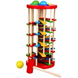Tradico® Wooden Toy Educational Knock The Ball Off The Ladder Toys Gift For Kids Baby