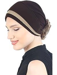 Vorderseitig Gepolsterte und Gefalteter Eleganter Hüt, Turban Mit Chiffon Rose für Haarverlust, Krebs, chemo