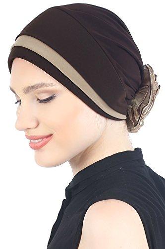 Deresina Headwear Vorderseitig Gepolsterte und Gefalteter Eleganter Hüt Mit Chiffon Rose für Haarverlust (Kakao/Beige) -