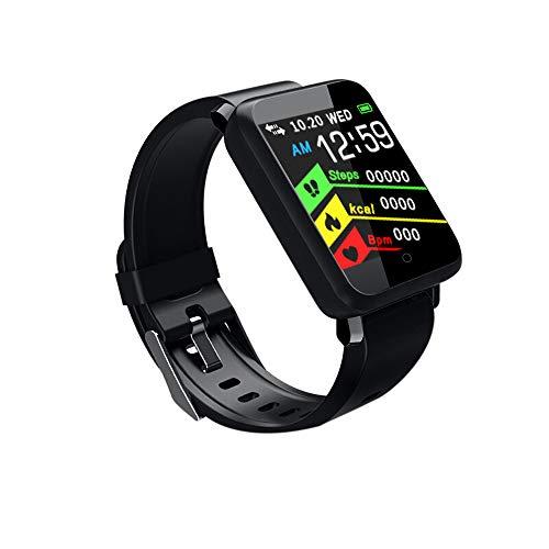 Omiky® Wasserdicht Smartwatch, Smart Watch Sport Fitness Aktivität Herzfrequenz Tracker Blutdruck Uhr IP67,Smart Watch für Männer, Frauen (Schwarz)