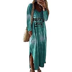 Vestidos Mujer Casual Playa Largos Verano Floral Vestido Boho Hendidura Falda Larga Maxi Vestido Playeros Green XL