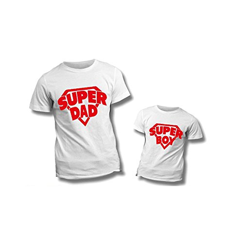 Coppia di t-shirt bianche personalizzate per padre e figlio magliette per la festa del papà super dad boy - uomo l bimbo 3-4 anni