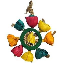 Rosewood Boredom Breaker Bamboozlers Blossom Anillo pájaro Juguete, Grande/Medio