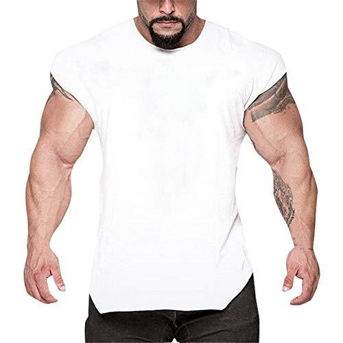 Fenverk Herren Fitness Shape Shirt Figur Formend Training Achselshirts Weste Sauna Schwitzeffekt Tank Top Stark Gym Bodyshape Mit Breit TräGer(Weiß 1,XL)