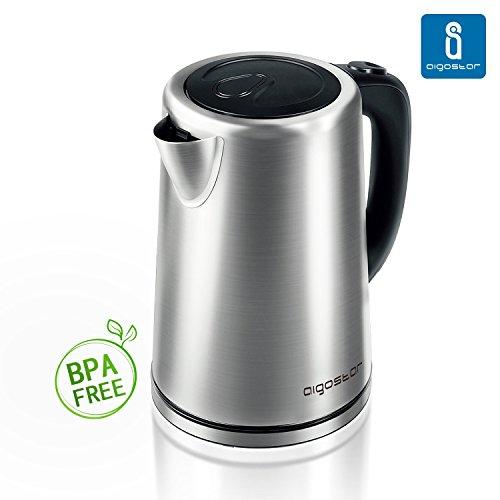 Aigostar Rob 30IGQ - Bollitore Elettrico 1,7L 2200W Acciaio Inossidabile Acqua Calda .BPA Assente