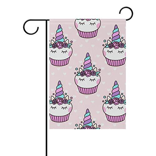 Buyxbn Einhorn Cupcake rosa Garten Flagge doppelseitig Haus Innen Außen Saisonale Dekoration Hofbanner Polyester, Polyester, Color-1, 28