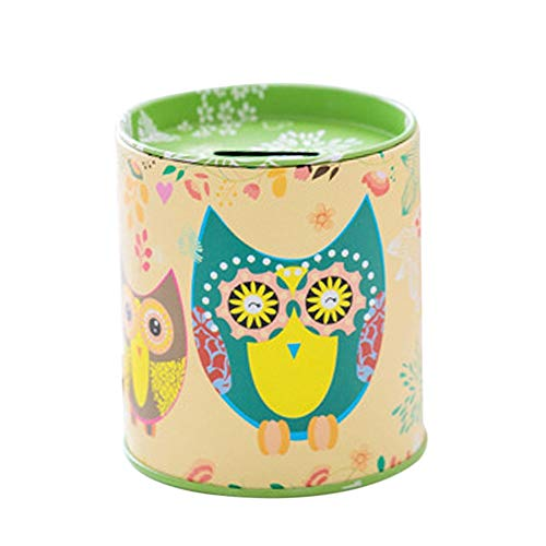 Money Boxes - Creative Owl Piggy Bank Tinplate Money Tin Saving Box Case Storage Gift Container - Tray Kids Cardboard Gift Weddings Adults Profile Wedding Boxes Girls Locks Money Cash Recepti Carousel Tray
