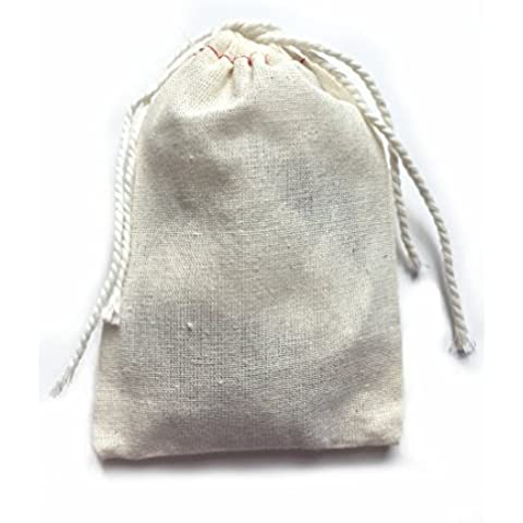 Small Cotton Muslin Cloth Double Drawstring Bag 3x5 inch 25 count by Pure Joy Concepts - Herb Favor