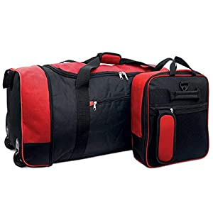 iN Travel Foldaway Holdall Travel Duffel Bag On Wheels – Expandable Wheeled Carry On Luggage Unzips and Expands to Hold 80 litres Perfect for Plane, Train, Car Travel with Zippered Side Compartments