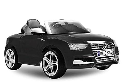 AUDI S5 Luxus Kinder Elektro Akku elektrisch Cabrio Sportwagen Spyder Cross Dirt Pit Bike 2x 30W 12V FERNSTEUERUNG (schwarz)