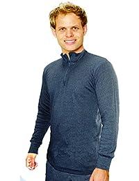Octave® Mens Underwear thermique à manches longues Zip Neck T-Shirt / Vest / Top