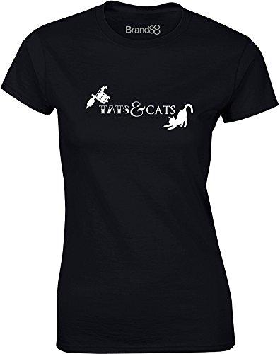 Brand88 - Tats & Cats, Gedruckt Frauen T-Shirt Schwarz/Weiß
