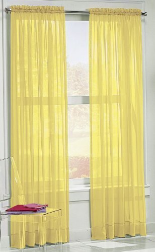No. 918 Calypso 59 by 84-Inch Sheer Voile Curtain Panel, Lemon by No. 918