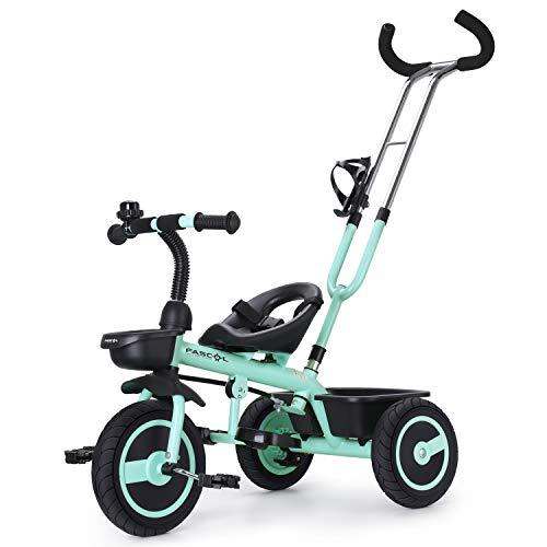 Fascol Tricycle Vélo 3 Roues Poussette Evolutif avec Roues en Caoutchouc Silencieuses...