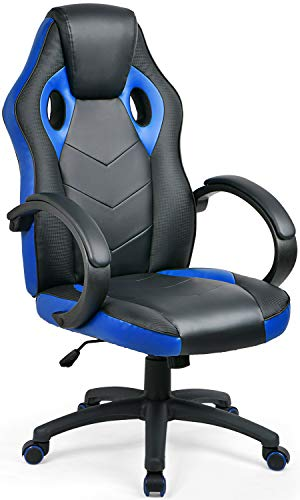 Umi Bürostuhl Drehstuhl Chefsessel Computerstuhl Gaming Stuhl Schreibtischstuhl mit Armlehne Ergonomischer Gamer Stuhl PC Stuhl Blau