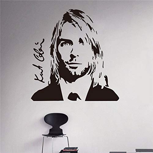 yiyitop Wandtattoo Grunge Nirvana Vinyl Aufkleber Rockstar Sänger Musikstudio Aufkleber Rock Wandkunst Design Reinigung Sup 60 * 60cm