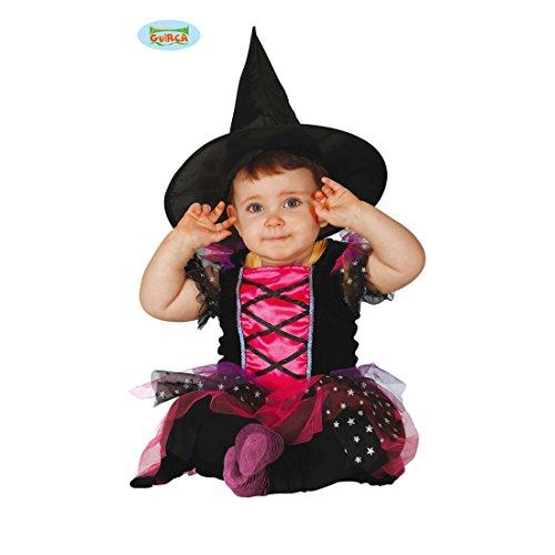 Hexe Babykostüm Hexenkostüm Baby 6 - 12 Monate, 82 - 83 cm böse Zauberin Verkleidung Halloween Outfit Mädchen (Dunkle Fee Kostüme Für Mädchen)