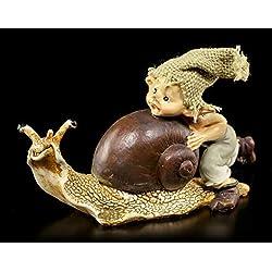 Pixie Fantasy Kobold Figur mit Schnecke - Gib Gas!   Dekofigur, Handbemalt