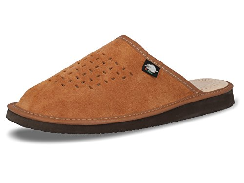 Mens Suede Slippers, Mules With MEMORY FOAM Orthopeadic Insole, Size 4,5,6,7,8 UK (10 UK / 44 EU, Brown)