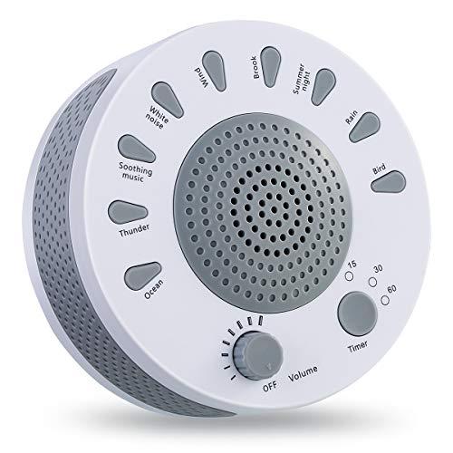 White Noise Machine Sleep Helper, Geräuschentspannungsgerät mit 9 einzigartigen Naturgeräuschen, Geräuschentspannungshilfe zum Stillen von Babys, leichter Schlaf, Schlaflosigkeit, Yoga -