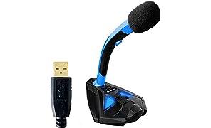 KLIM Voice Micrófono USB con Base para Ordenador - Micro de Escritorio - Micrófono para Jugadores - PC PS4 - Azul 2019 Versión