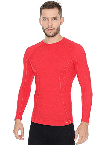 416ThZ4HPjL - BRUBECK Functional Long Sleve Shirt for Men, Size M, Color Red, LS12820, Active Wool