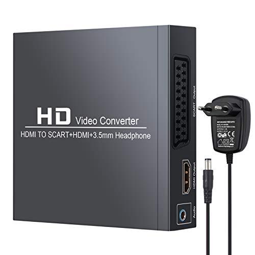 Neoteck HDMI zu SCART/HDMI Konverter HDMI zu Composite-Videosignal/FL/FR-Stereo-Audiosignal Adapter mit 3,5-mm-Kopfhörer und Netzteil Unterstützt 1080P, PAL, NTSC für CRT-TV, VHS-VCR, DVD-Recorder (Vcr-recorder Für Tv)