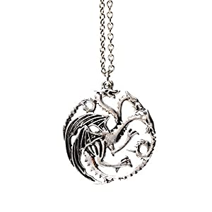 Beaux Bijoux (Style 1 - Three Headed Dragon Pendant Necklace Targaryen Sigil Silver Game of Thrones In Gift Box 2