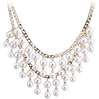 Lureme Bridal Multi Strand Crema Pearl Cluster Princess Length Oro Tone Catena Bib Statement Collana for Women (01000880-1+)