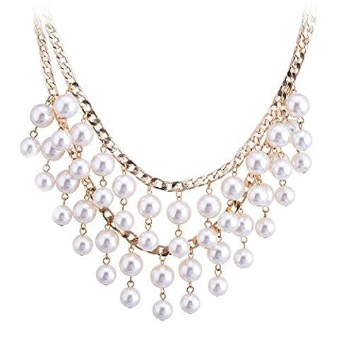 Lureme Bridal Multi Strand Sahne Pearl Cluster Princess Length Gold Tone Kette Bib Statement Halskette for Women (01000880-1+)