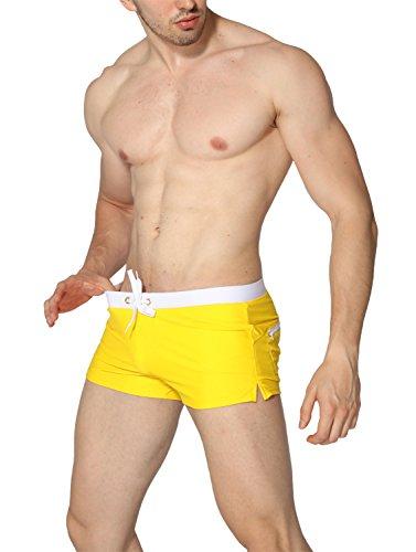 Ateid Herren Badehose kurze Schwimmhose Boxer Badepants Gelb