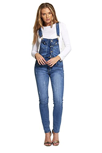Divadames Womens Urban Finish Light Denim Dungarees Ladies Denim Button Skinny Dungarees Size UK-XN133-12