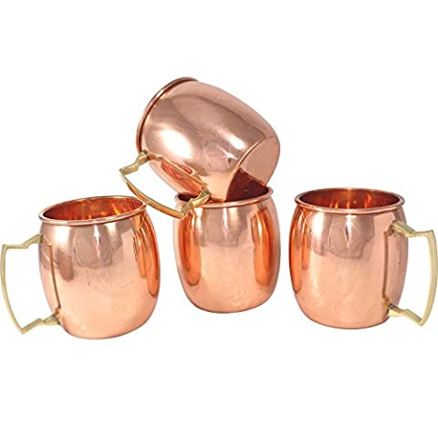 Rastogi Handicrafts Solid Copper Mug for Moscow Mules 550 ML / 18 oz - 100% Pure Copper Best Quality Lacquered Finish Mule Cup, Moscow Mule Cocktail Cup, Copper Mugs, Cocktail Mugs (4)