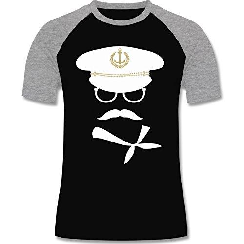 Shirtracer Schiffe - Matrose Weiß/Gold - Herren Baseball Shirt Schwarz/Grau Meliert