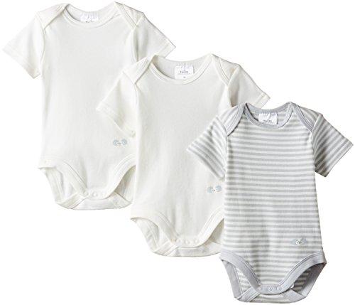 Twins Unisex Baby - Kurzarm-Body im 3er Pack, Mehrfarbig, Gr. 80, Mehrfarbig (weiss/hellgrau)